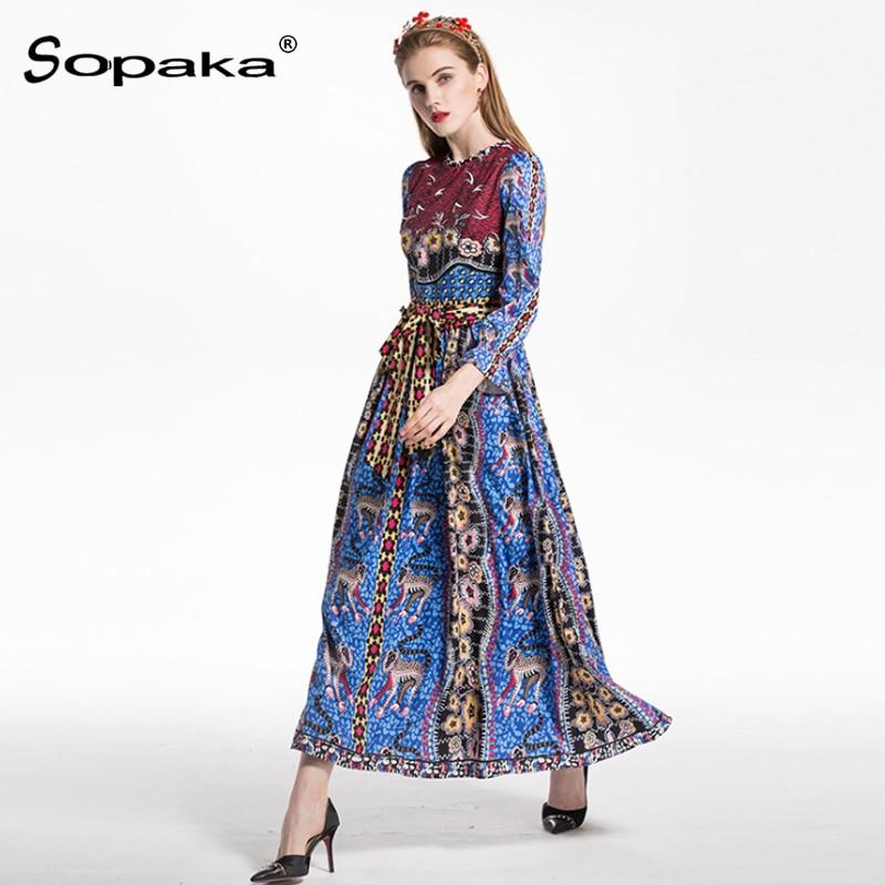 Léopard 2018 Maxi Longue Floral Bleu Designer Rouge Patchwork Piste Robe Imprimé Vintage Robes Femmes Printemps Ceintures InrUqOI