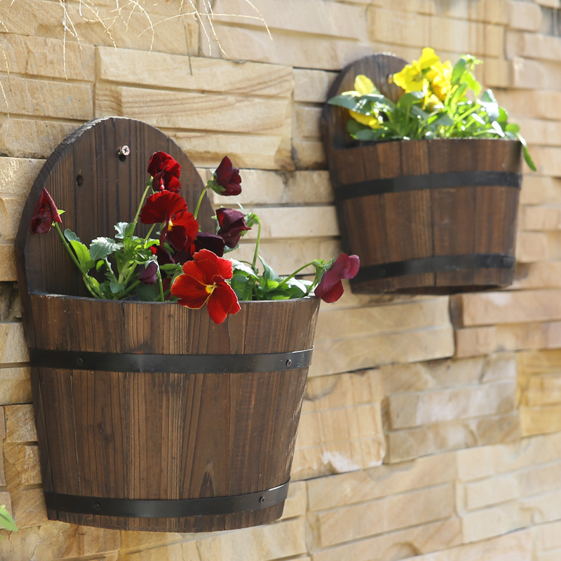 Wall Hanging Flower Pots pastoral fir wood wall mounted flower pots wooden half barrel wall