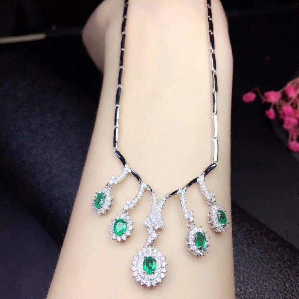 SHILOVEM 925 argent sterling véritable naturel émeraude pendentifs classique bijoux fins femmes de mariage en gros nouveau cadeau dlp040501agml