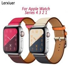 цена Strap for Apple watch 4 band 44mm 40mm iwatch band 42mm 38mm Genuine Leather Single tour wrist bracelet for iwatch series 4 3 2 онлайн в 2017 году