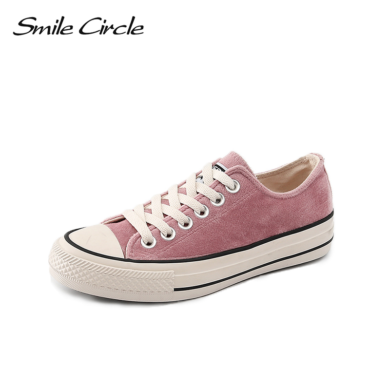 Smile Circle 2018 Spring Fashion Sneakers Women Ultra-soft Lace-up Casual Shoes Women Flat Platform Shoes Girl Shoes A58031 smile circle spring autumn sneakers women lace up flat shoes for women fashion rhinestones casual platform shoes flat shoes girl