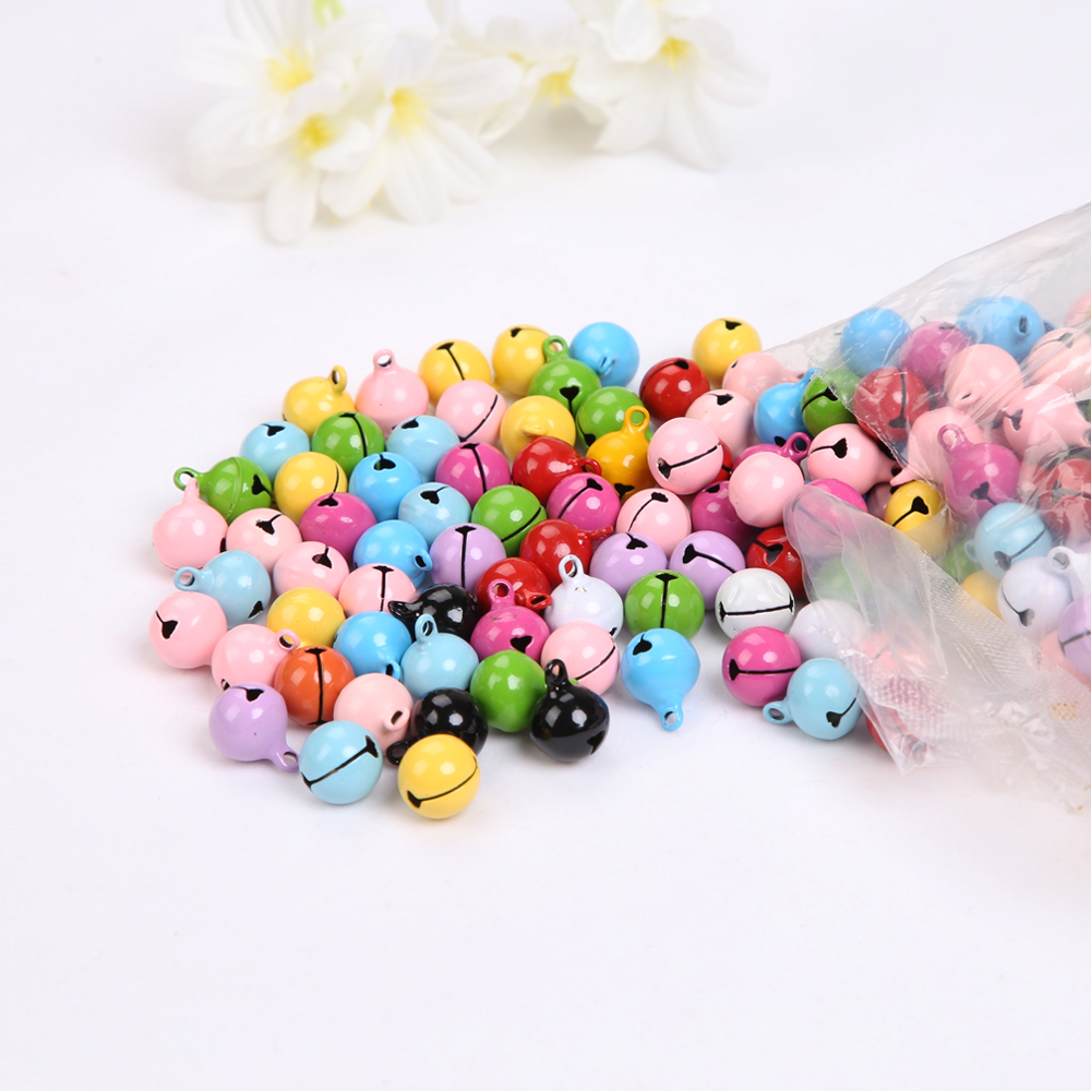 50pcs 12mm Beautiful Candy Color Bells Copper Loose Metal Beads Jingle Bells Christmas Decoration Pendants DIY Crafts Bells