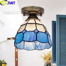 FUMAT Tiffany ceiling lights Stained Glass LED Lamp luminaria Lighting Fixture Bule diterranean lustre Home deco Lamps