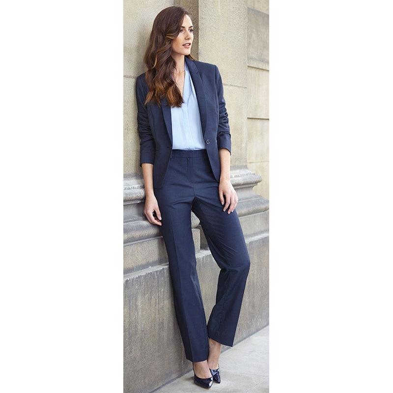 CUSTOM Navy 2 piece set women business suits ladies formal pant suits for weddings female trouser suits women work suits