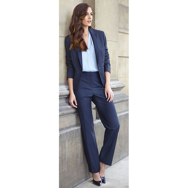 CUSTOM Navy 2 piece set women business suits ladies formal pant ...