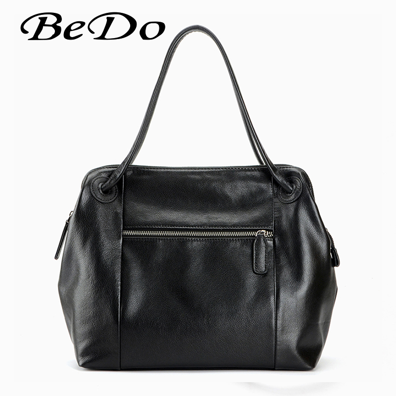 BeDo Women Man Genuine Leather Modern Hand Bags Simple Cow Leather Solid Shoulder Bags Black Red Yellow Bags