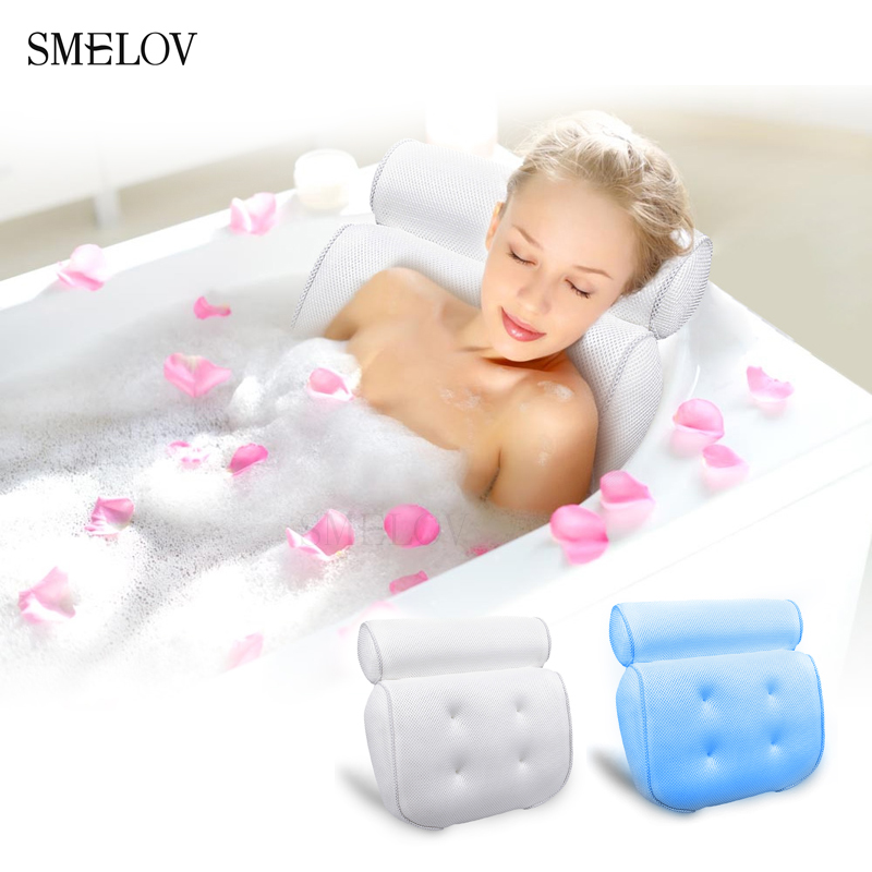 portable comfort white bath pillow with Suction Cups spa bathtub pillow massage bath neck pillow cushion Bathroom Accessories Подушка