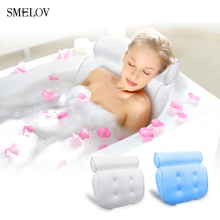 portable comfort white bath pillow with Suction Cups spa bathtub massage neck cushion Bathroom Accessories