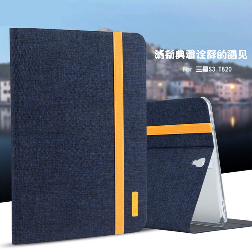 Silicon+Cloth PU Leather Case For Samsung Galaxy Tab S3 9.7 T820 T825 SM-T820 Smart Sleep Case Cover Stand Tablet Shell Funda luxury pu leather silicon case for samsung galaxy tab 3 8 0 sm t310 t311 t315 case cover funda fashion tablet flip stand shell