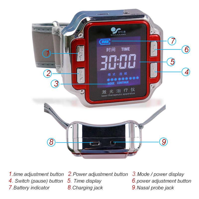 CE 650nm terapia laserowa zegarek fizjoterapia nadgarstek do leczenia nadciśnienia wzmacniacz odporność lepkość krwi Cholesterol