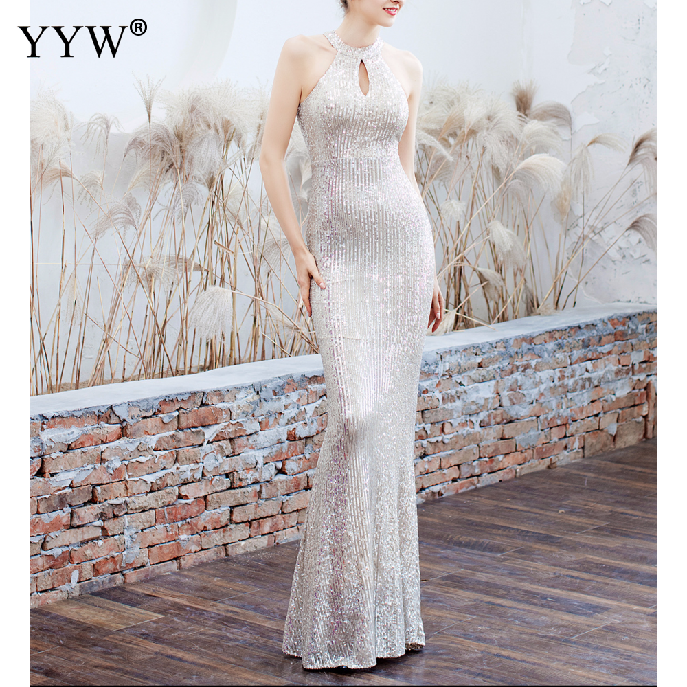 Elegant Sequined Halter Sleeveless Mermaid Long Evening Dress 9