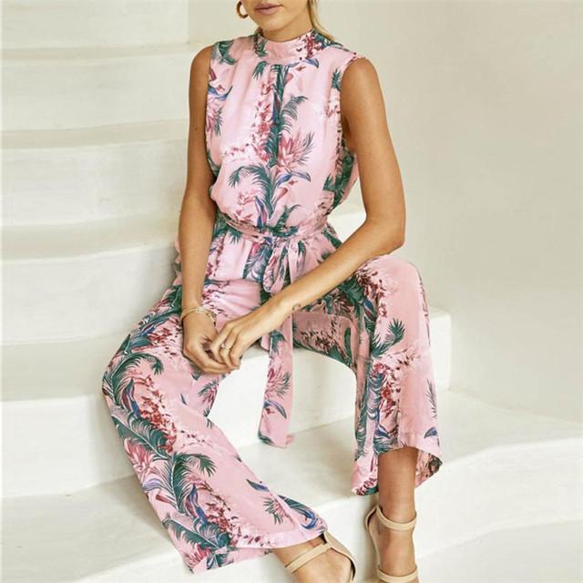 2018 New Fashion Summer Women Pink sexy Chiffon Floral Printed Backless Bandage Wide Leg Pants Sleeveless Playsuit body feminino