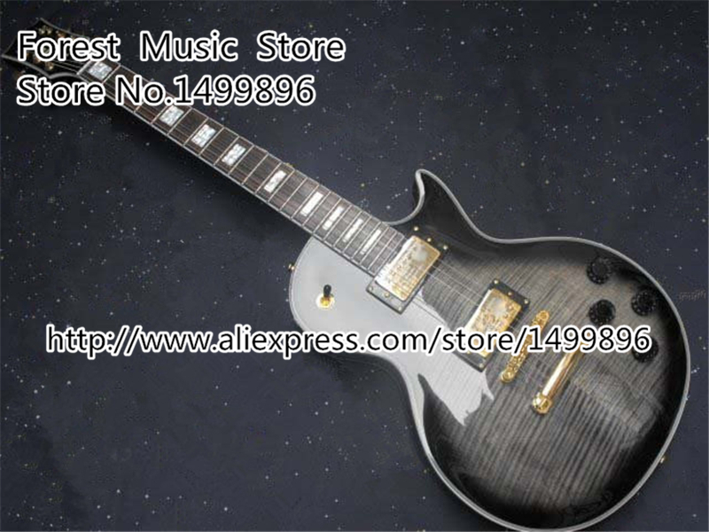 Chinese Musical Instruments Silverburst Tiger Flame LP Custom Electric Guitar 22 Frets Guitars Kits Lefty Available new arrival 1960s corvette lp electric guitar in black china lp guitars lefty available