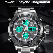 Famous Luxury Top Brand Waterproof Military Sport Watches Men Black Steel Digital Quartz Analog Watch Clock Relogios Masculinos