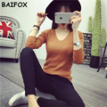 BAIFOX 2017 New Fashion Women's Pullover Sweater Lady V-neck Full Sleeve Cashmere Wool Knitted Solid Color Wear Loose Size Slim