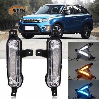 OKEEN 2pcs LED Daytime Running Light For Suzuki Vitara 2015 2016 2017 2018 Turn Signal Lamp Amber White DRL Blue Night Light 12V