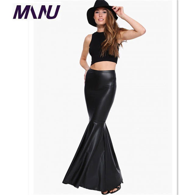 Otoño Sexy Falda Mujer Grande Más El Tamaño 7XL Largo Maxi Negro Señoras de La Alta Cintura de Cuero de Imitación de La Sirena Fishtail Faldas 2016