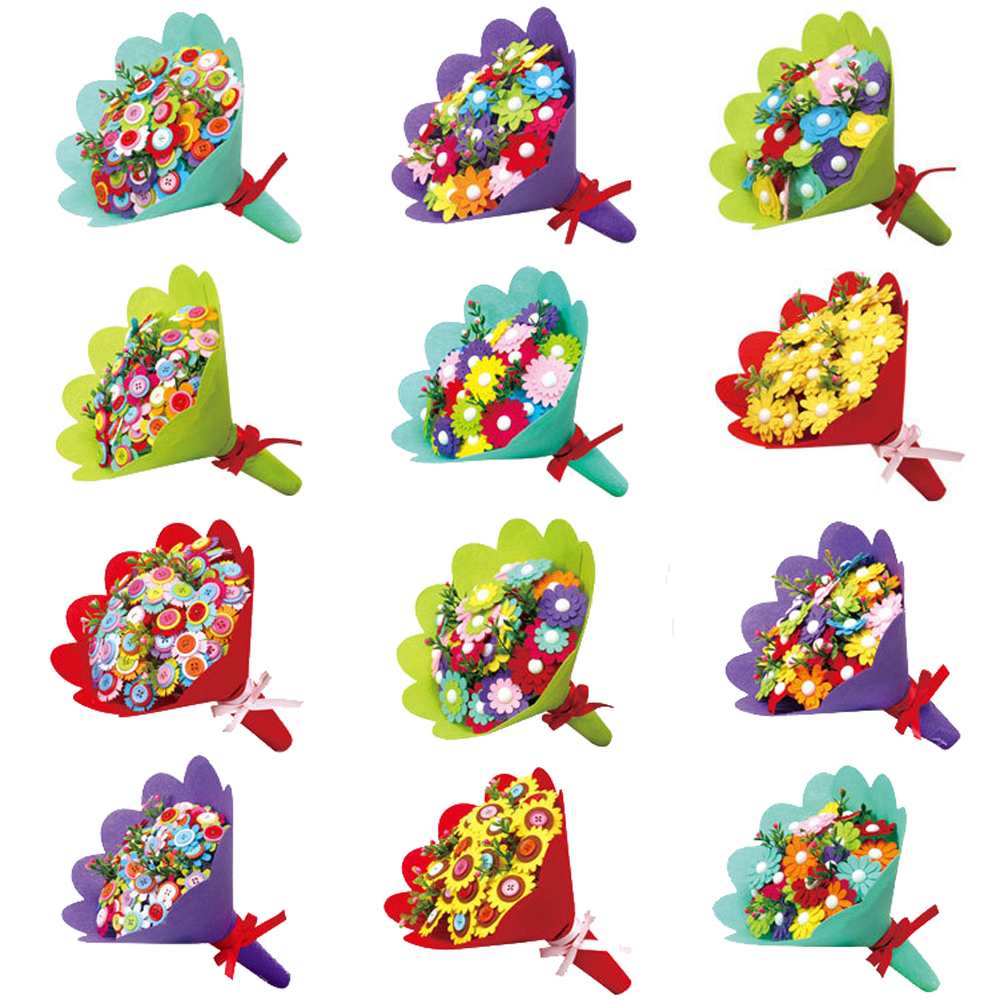 Kids Creative DIY Art Craft Hand Flower Bouquets Handmade Set Toys For Children DIY Button Flowers Educational Toys Random Style