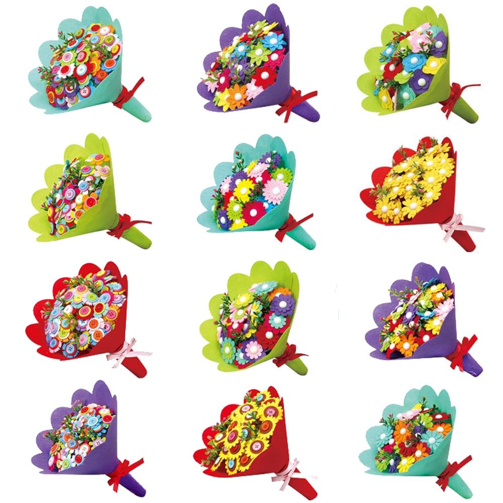Kids Creative DIY Art Craft Hand Flower Bouquets Handmade Set Toys For Children DIY Button Flowers Educational Toys Random Style
