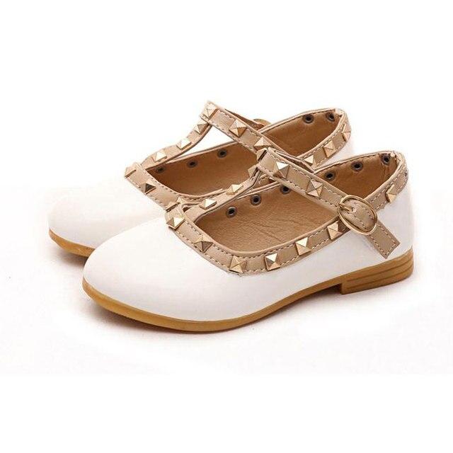 Новые весенние заклепки дети принцессы квартира обувь дети обуви детей кожаные ботинки для девочек