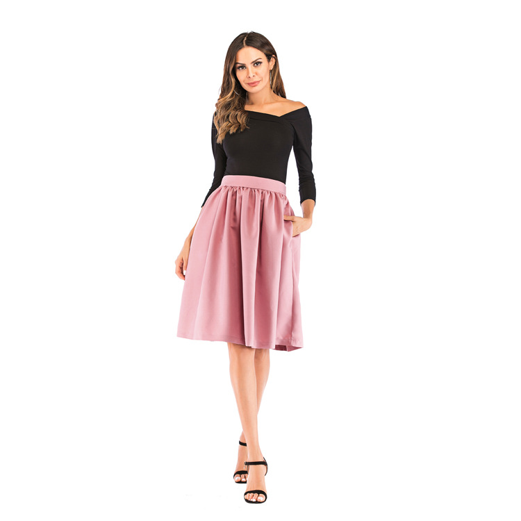 Bachash 19 New Skirt Pockets Fashion Spring Autumn Ball Gown Skirt High Waist Female Casual Solid Loose Knee-Length Skirts 13