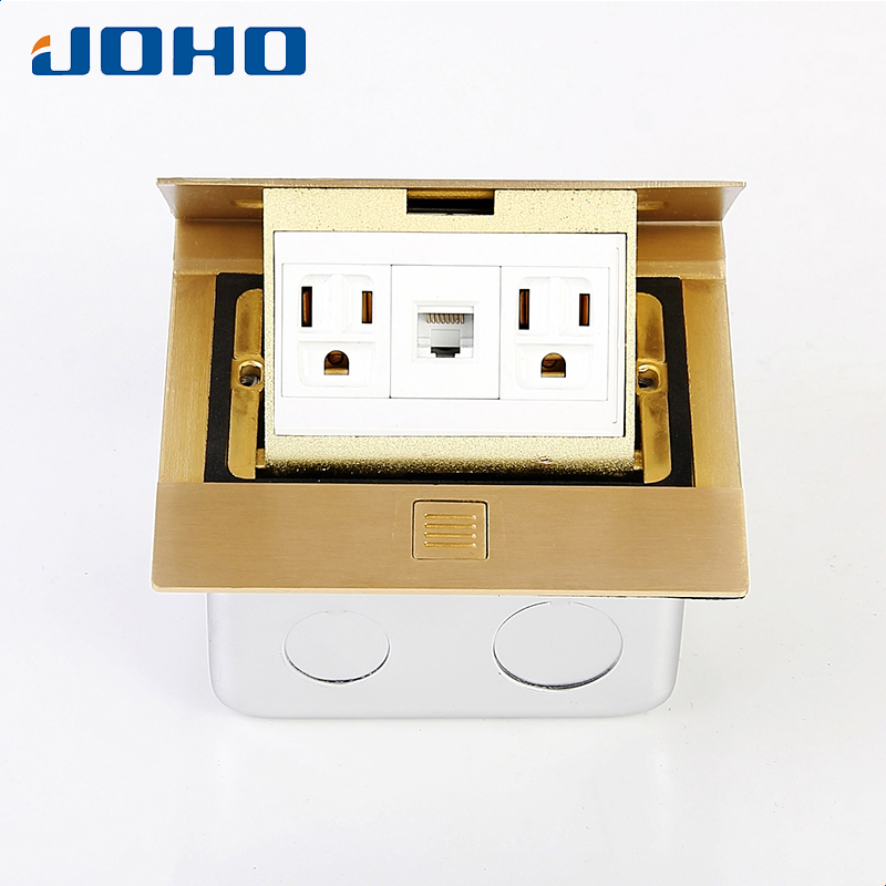Brass Slow Pop Up Floor Socket Box with 15A 125V US sockets and RJ45 data brass slow pop up floor socket box with 15a 125v us socket rj45 computer data