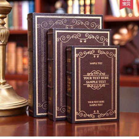 En gros 3 pièces taille grand moyen et petit Continental rétro décoration boîte simulation faux livre armoire moule ameublement bibliothèque