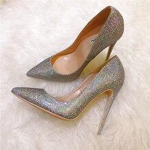 цена на Free shipping fashion women Pumps Multi color glitter strass point toe high heels 12cm 10cm  8cm party shoes bride wedding shoes