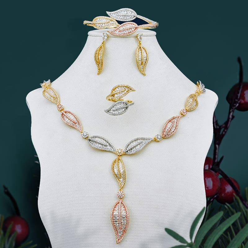 ModemAngel Super Luxury Leaf 3 Tone Necklace Bangle Earring Ring For Women Full AAA Cubic Zirconia