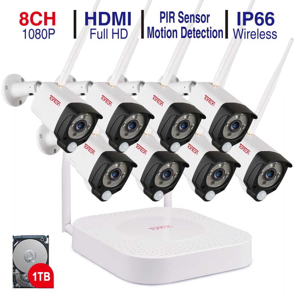 Tonton 8CH 1080P NVR Kits Audio Recording HD Home Security Wireless Outdoor IP Camera CCTV WIFI