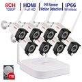 Tonton 8CH 1080P NVR комплекты аудио запись HD Домашняя безопасность беспроводная уличная ip-камера CCTV wifi система видеонаблюдения Сигнализация