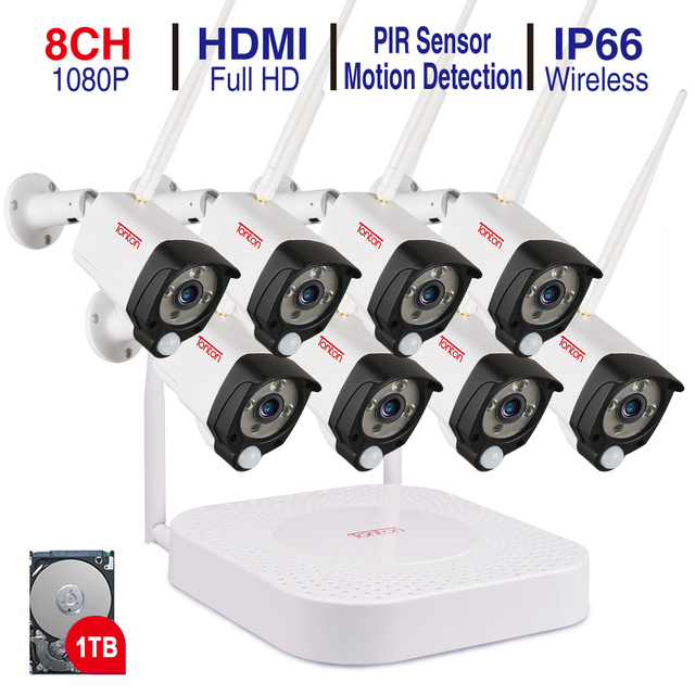 Tonton 8CH 1080P NVR 키트 오디오 녹화 HD 홈 보안 무선 야외 IP 카메라 CCTV 와이파이 비디오 감시 경보 시스템