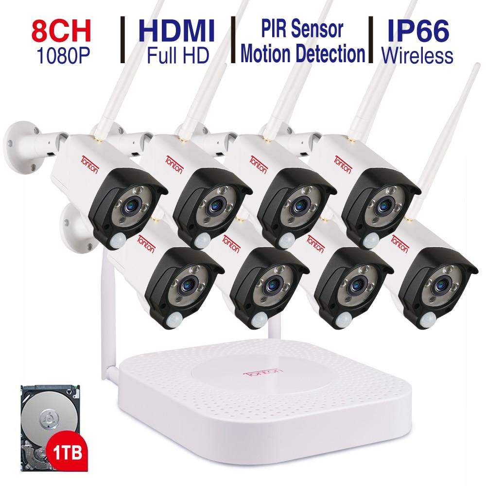 Tonton 8CH 1080P NVR Kits Audio Recording HD Home Security Wireless Outdoor IP Camera CCTV WIFI Video Surveillance alarm System