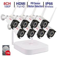 Tonton juegos de grabación de Audio inalámbrica para el hogar, cámara IP exterior, CCTV, WIFI, sistema de alarma de videovigilancia, 8CH, 1080P, NVR