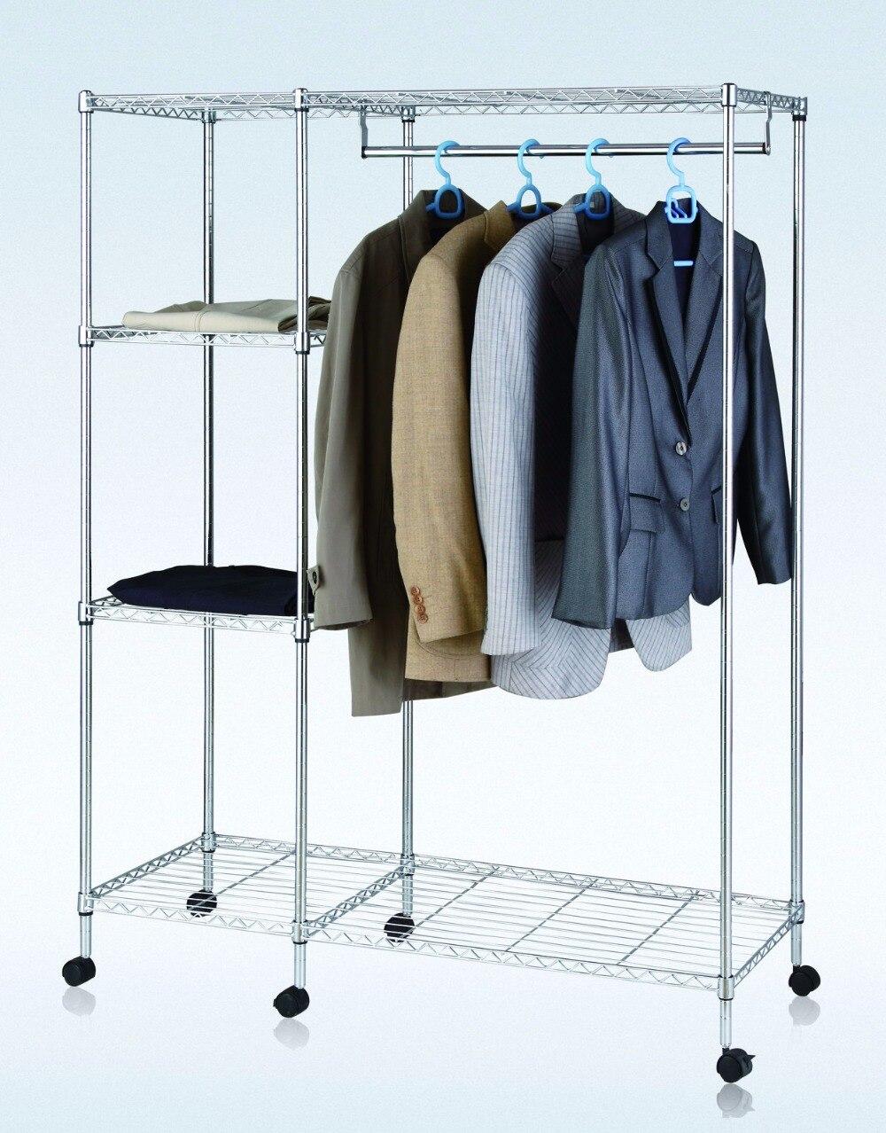 Chrome Metal Wardrobe 4 Layers Storage Rack 48x48x60