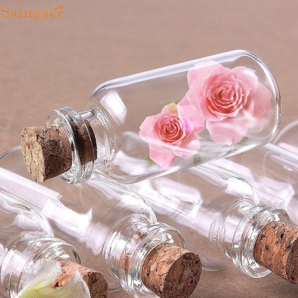 E20 24 Small Mini Glass Jars with Cork Stoppers D621-in Storage ...