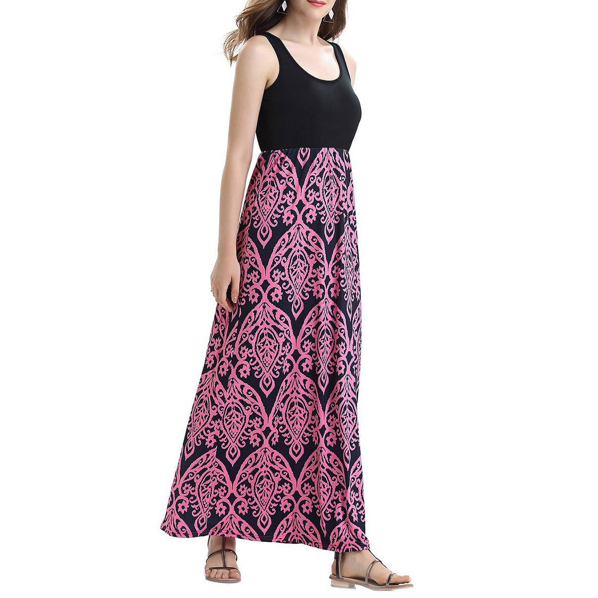 Women Summer Beach Boho Maxi Dress 2018 High Quality Brand Striped Print Long Dresses Feminine Plus Size Loose Casual Dress
