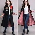 2016 Осень зима Китайский стиль Траншеи женщин вышитые шить длинное Пальто женский большой размер свободные пальто femme