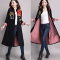 2016 Autumn winter Chinese style Trench women embroidered stitching long Overcoat female large size loose coat femme