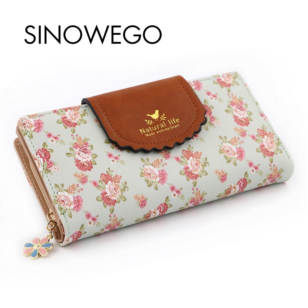 Fashion Women Wallets Flower Leather Wallet Female Card Holder Coin Purse Woman's Wallet Women Purse Wristlet Small Wallet Slim