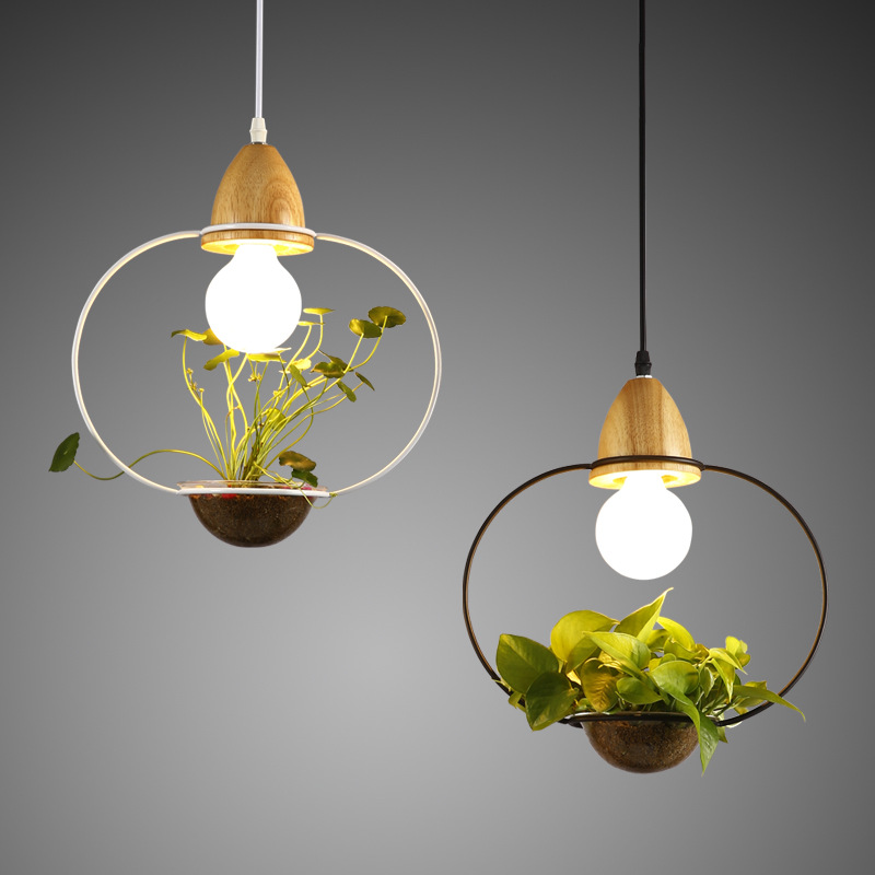 Modern Sky Planter Pendant Light Wood+Iron Plant Pot Hanging Lamp Suspension Lighting Fixture for Restaurant Dining Room Kitchen free shipping modern brief pendant light iron and crystal restaurant lamp fashion lighting light fixture for dining room bedroom