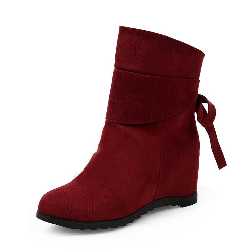 Masorini Automne 2018 Cher marron La Plus Dans W Hiver Épais Chaussures 233 Mode Noir vin Pas De Femmes Taille Pour Noir Et New Bottes Rouge wOkXN8n0P