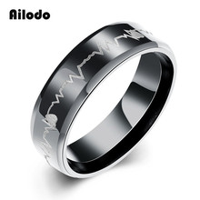 Ailodo Fashion Heartbeat Rings For Men Titanium Steel Gun Black Plated Color 2019 Trendy Jewelry Gift LD230