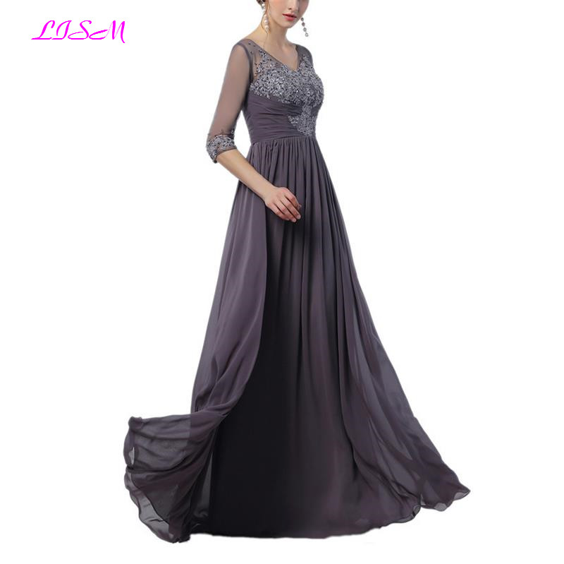 Gray Mother of the Bride Dresses V Neck Half Sleeves Long Evening Party Gowns Elegant Mother Dress in Mother of the Bride Dresses from Weddings Events