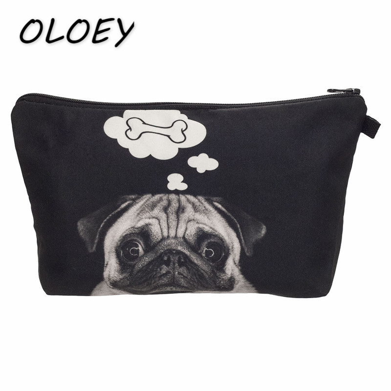 Women Pug Cosmetic Bag Portable Clutch Cute Animal Dog Toiletry Organizer Bag Travel Makeup Storage Bag Pencil Case! все цены