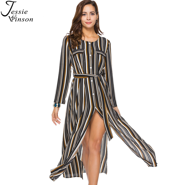 c21f72cf006073 Jessie Vinson Fashion Women Striped Print Chiffon Split Maxi Dress Plus Size  O-neck Long Sleeve Single Breasted Waist Long Dress
