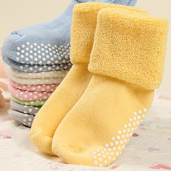 0-3 Jaar Oude Katoenen Baby Sokken Herfst En Winter Dikke Badstof Babysokjes Effen Kleur Socksatws0018