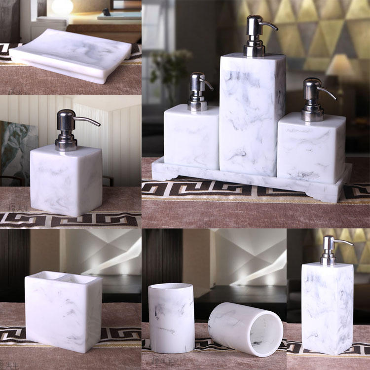 marble design bathroom accessaries resin liquid bottle toothbrush cups toothbrush holde soap dishchina