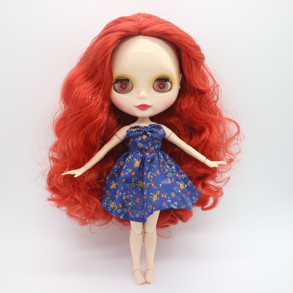 Azone joint body Nude Blyth Doll rose red hair small