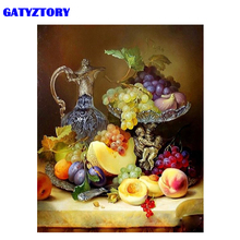 GATYZTORY Frame Fruits Diy Oil Painting By Numbers Vintage Acrylic Paint On Canvas Handpainted Unique Gift For Home Decoration